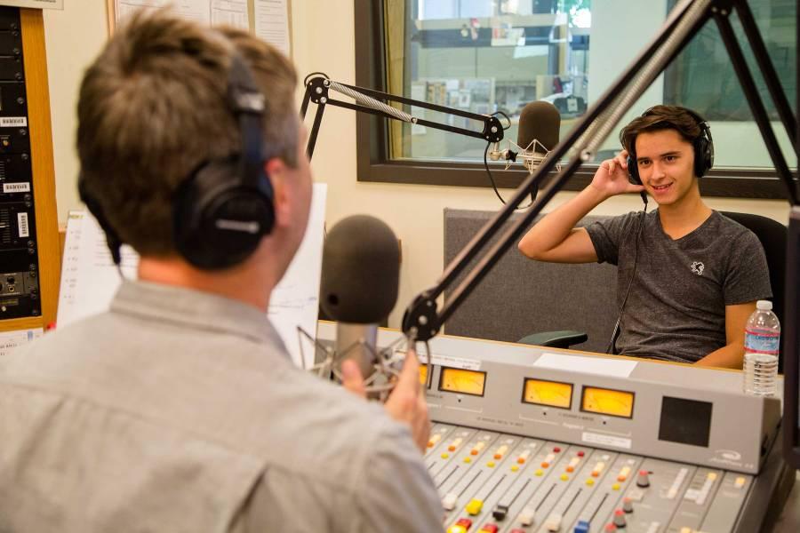 Hayden Kajercline in the KPLU studios with Abe Beeson.