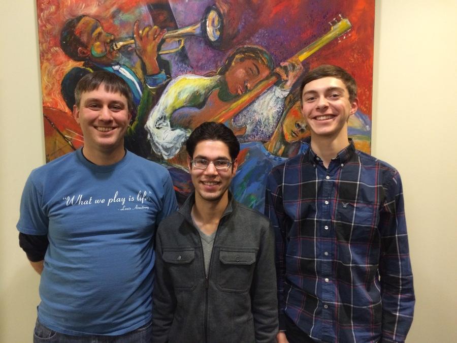 Abe Beeson, Matthew Tweten, and Blake Clawson in the KPLU offices.